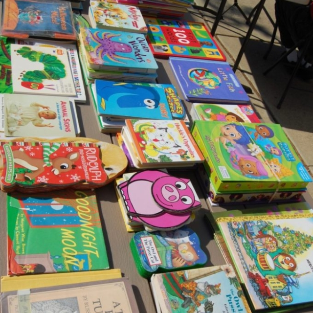 The free books are all set out for the children.