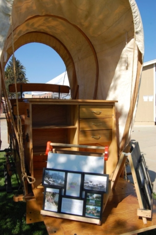 The chuck wagon was used as a photo gallery.
