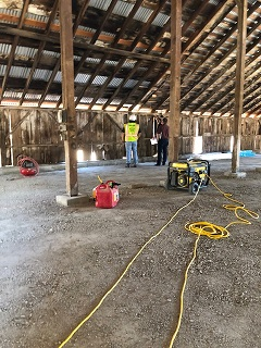 barn,roof,metal,equipment,men,compressor