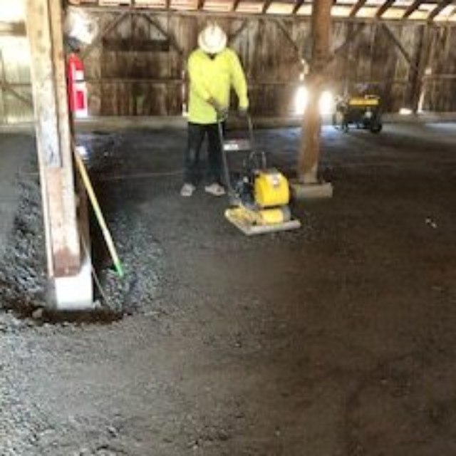 compactor,worker,barn,base rock
