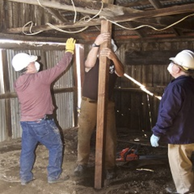 barn,roof,metal,men,hard hats,post,wire,