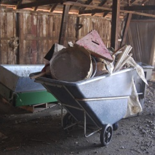 wheelbarrow,junk,wood,plastic,metal