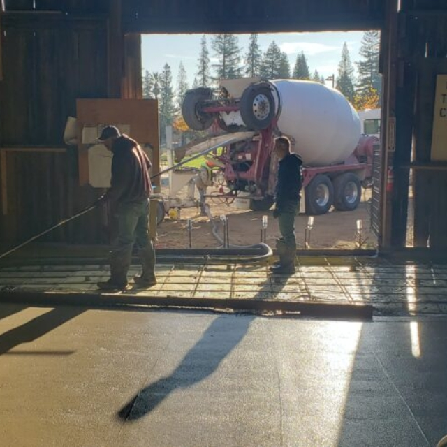 cement truck, workers, floating, leveling