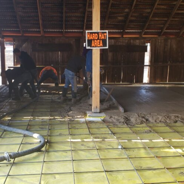 Barn, cement, hose, leveling, hard hat area,